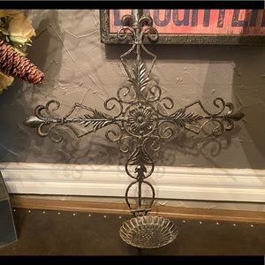 Metal Cross Candle Sconce